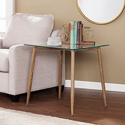 Celia Wood with Glass Top Accent Table