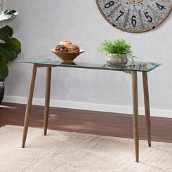 Celia Wood with Glass Top Console Table