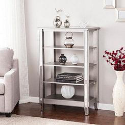 Vivian 4-Tiered Silver Matte Mirrored Bookcase