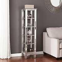 Vivian 5-Tiered Silver Matte Mirrored Bookcase