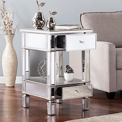 Vivian Silver Matte Mirrored Accent Table