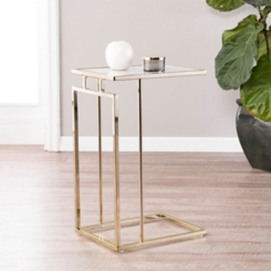 Holly and Martin Brass and Faux Marble C-Table