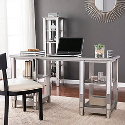 Weston Mirrored Desk with Open Shelves