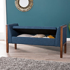 Landry Upholstered Button Tufted Blue Bench