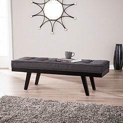 Monte Upholstered Gray Bench with Tapered Legs