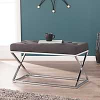 Kinsey Upholstered Bench with Chrome X-Frame Base