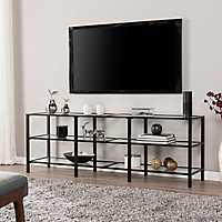Open Shelves Metal and Glass Black Media Stand
