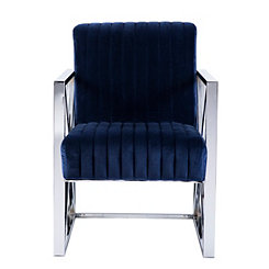 Ellis Velveteen Deep Blue Accent Chair