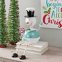 Metal Snowman Shelf Sitter with Dangling Legs