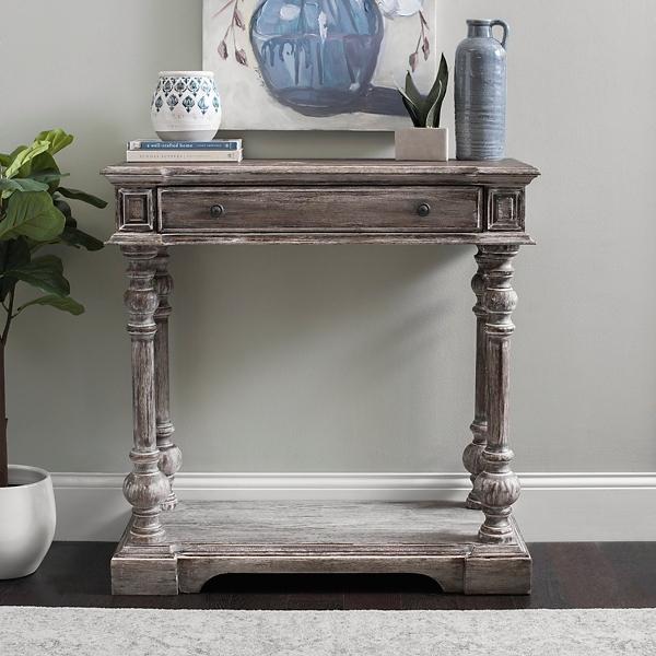 console tables entryway tables kirklands rh kirklands com gray wash sofa table dark gray sofa table