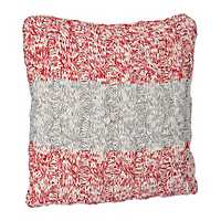 Gray and Red Color Block Cable Sweater Pillow