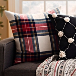 Blue, Red, and Ivory Plaid Pillow