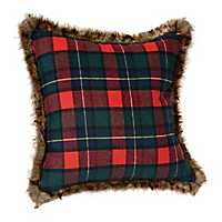 Green, Blue, and Red Plaid Fur Trim Pillow