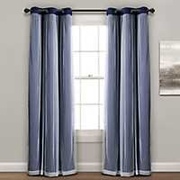 Sheer with Navy Lining Curtain Panel Set, 84 in.