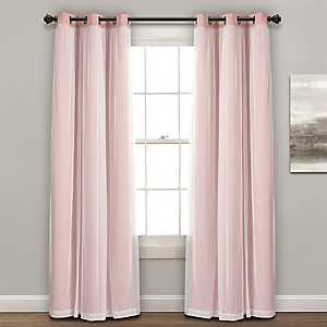 Sheer with Pink Lining Curtain Panel Set, 84 in.