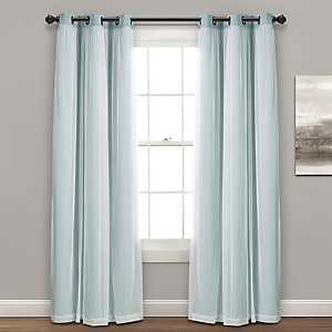 Sheer with Blue Lining Curtain Panel Set, 84 in.