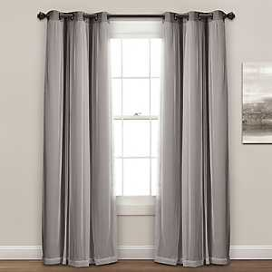 Sheer with Dark Gray Curtain Panel Set, 84 in.