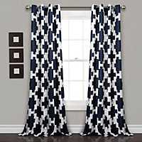 Navy Ikat Room Darkening Curtain Panel Set, 84 in.