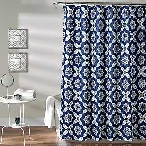 Navy Medallion Shower Curtain