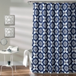 Navy Medallion Shower Curtain
