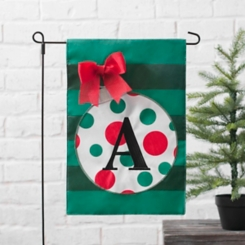 Green Monogram A Polka Dot Ornament Flag Set