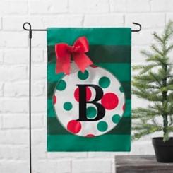 Green Monogram B Polka Dot Ornament Flag Set