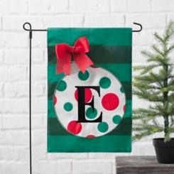 Green Monogram E Polka Dot Ornament Flag Set
