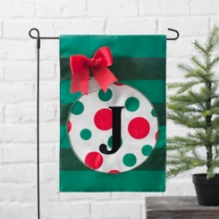 Green Monogram J Polka Dot Ornament Flag Set