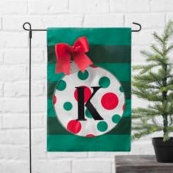 Green Monogram K Polka Dot Ornament Flag Set