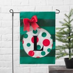 Green Monogram L Polka Dot Ornament Flag Set