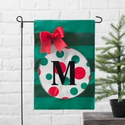 Green Monogram M Polka Dot Ornament Flag Set