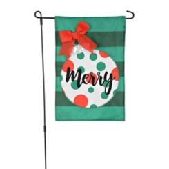 Green Merry Polka Dot Ornament Flag Set