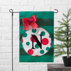 Green Monogram N Polka Dot Ornament Flag Set