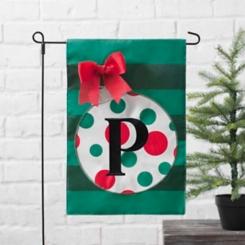 Green Monogram P Polka Dot Ornament Flag Set