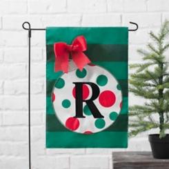 Green Monogram R Polka Dot Ornament Flag Set