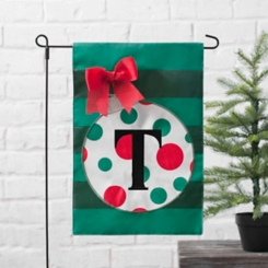 Green Monogram T Polka Dot Ornament Flag Set