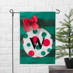 Green Monogram W Polka Dot Ornament Flag Set
