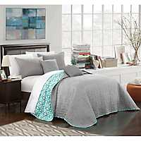 Gray Palmetto 5-pc. King Quilt Set