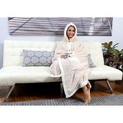 Beige Jan Hooded Snuggle Throw