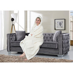 Beige Regina Hooded Snuggle Throw