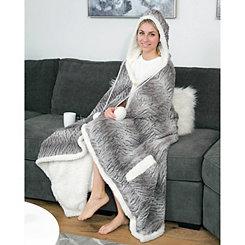 Beige Ali Hooded Snuggle Throw