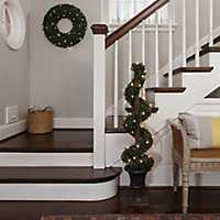 Pre-Lit Potted Boxwood Spiral Tree
