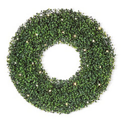 Green Pre-Lit LED Boxwood Wreath