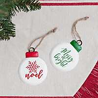 Round Noel and Merry Enamel Ornament, Set of 2