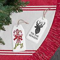 Enamel Christmas Tag Ornament, Set of 2