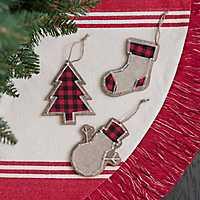 Plaid String Shapes Christmas Ornament, Set of 3