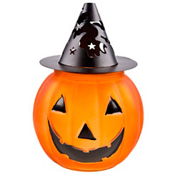 Halloween Pumpkin Votive Holder with Witch Hat