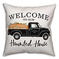 Welcome to Our Haunted House Reversible Pillow