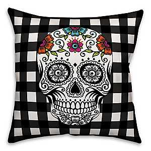 Black and White Sugar Skull Buffalo Check Pillow