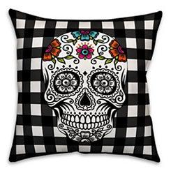 Black and White Sugar Skull Buffalo Check Pillow
